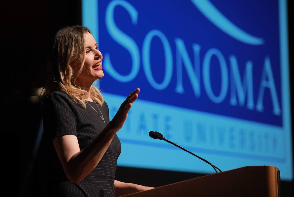 Actress Geena Davis spoke about women in the arts at the Sonoma County Women in Conversation event at the Green Music Center in Rohnert Park on Wednesday night. (John Burgess/The Press Democrat)