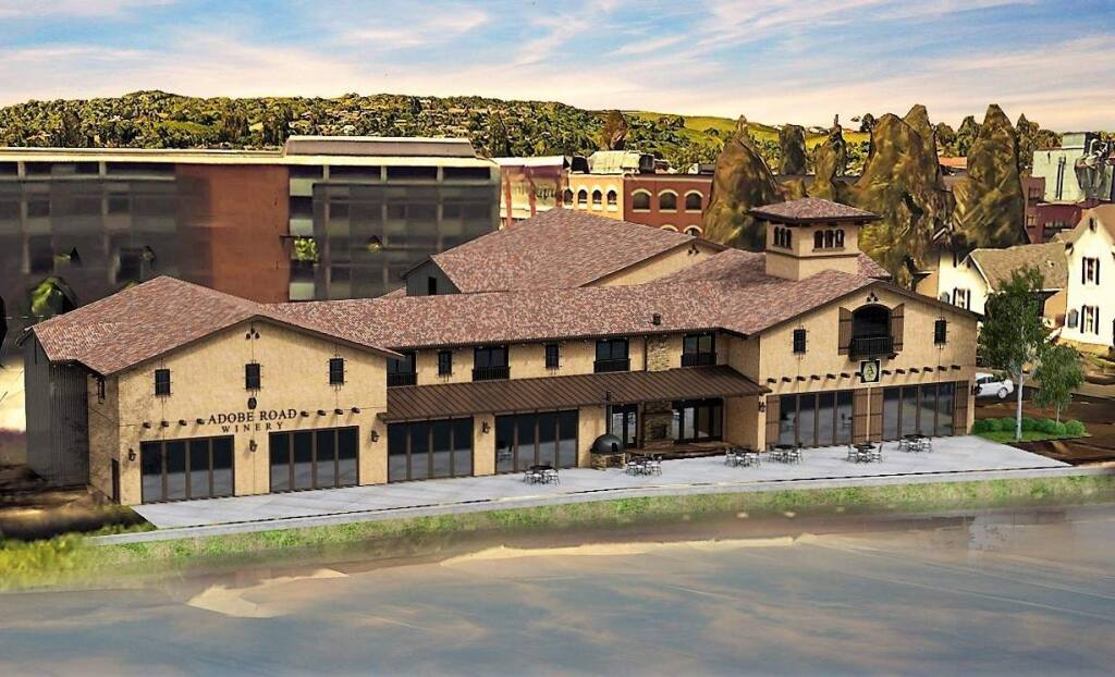 A rendering of Adobe Road Winery's planned tasting room and car museum in downtown Petaluma.