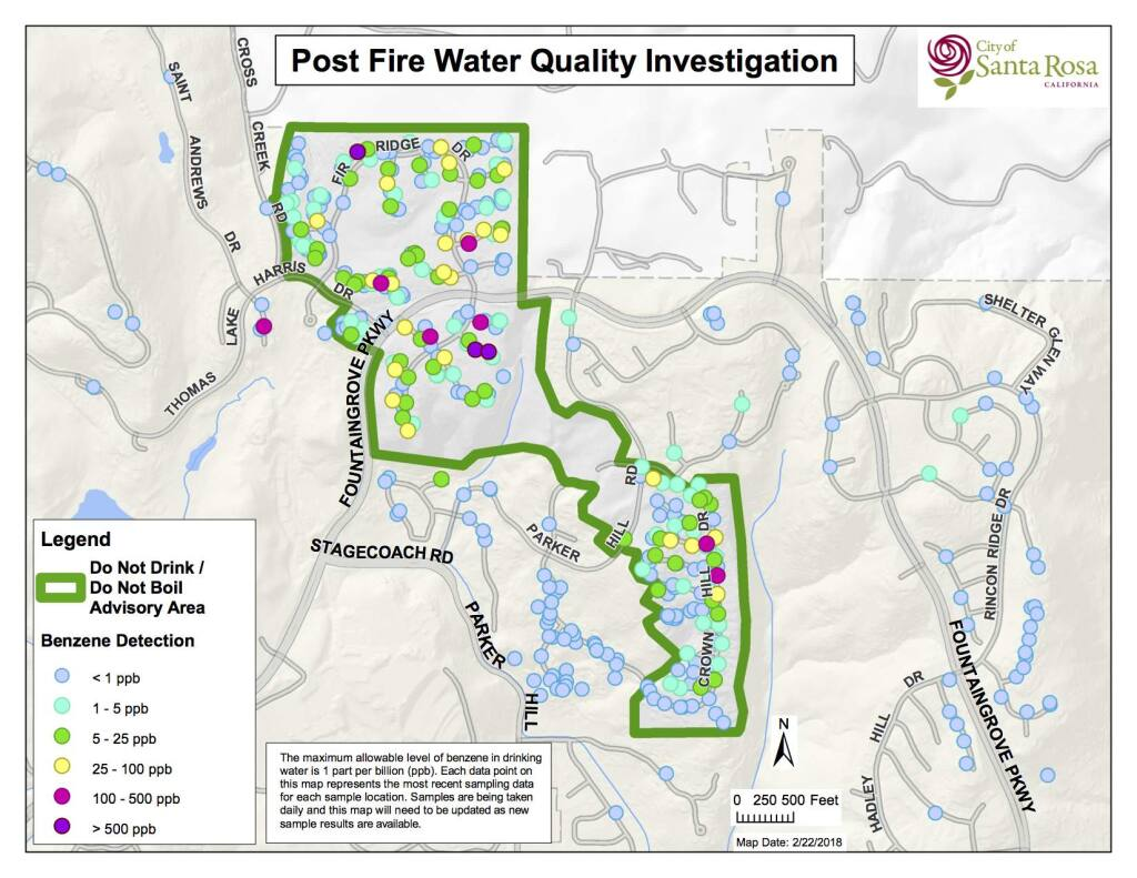 A map produced by the city in February of the locations of the test results for benzene taken in and around the 184-acre area in Fountaingrove where people have been advised not to drink or bath in the water due to the contamination.