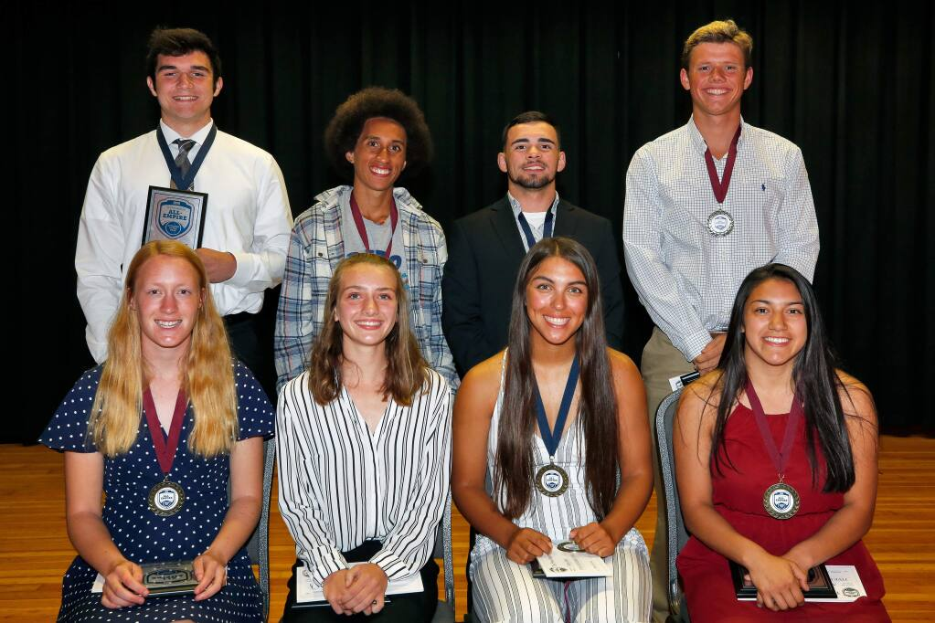 All-Empire Athletes and Scholar-Athletes of 2018-2019. Seated, from left to right: Mary Almy, Cardinal Newman; Gabrielle Peterson, Healdsburg; Tehya Bird, Cloverdale; and Adriana Lopez, Upper Lake. Standing, from left to right: Connor Barbato, Rancho Cotate; Andre Williams, Sonoma Academy; Jose Fernandez, Upper Lake; and David Mertz, Santa Rosa. Photographed at the Friedman Center in Santa Rosa on Tuesday, May 7, 2019. (Alvin Jornada / The Press Democrat)