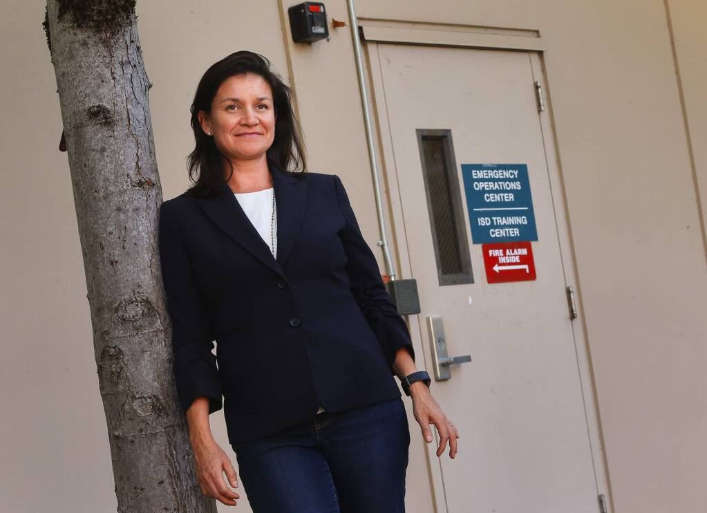 Alegria De La Cruz, chief deputy county counsel and Santa Rosa school board trustee, played a key role during the 2017 October fires by getting emergency communications translated into Spanish, and getting Spanish speakers to shelters and on the public information hotlines.(Christopher Chung/ The Press Democrat)