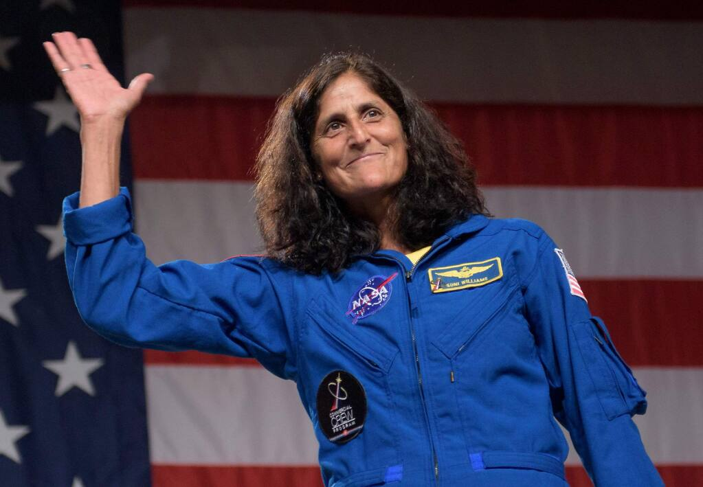 NASA astronaut Suni Williams will visit Sonoma on Aug. 18, but her eyes are always on the stars - or at least the moon, which she hopes to visit in 2020 and become the first woman to walk on its surface. (NASA/Bill Ingalls)