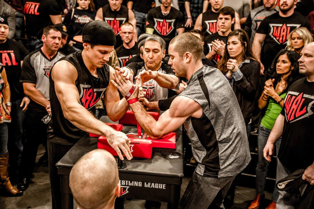 PHOTO SUPPLIED BY LUKE KINDTLuke Kindt, left, shown in the Game of Arms competition, was a participant in the final World's Wristwrestling Championship held in Petaluma.