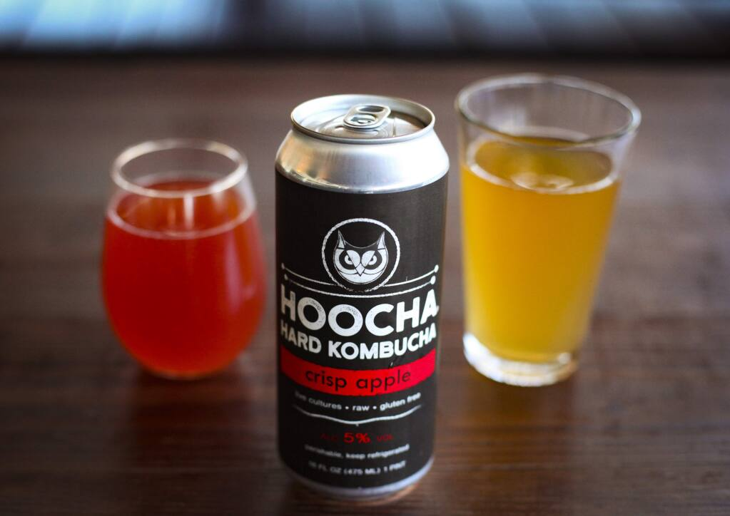 Petaluma, CA, USA._Monday, July 15, 2019._A new Petaluma venture called Hoocha Hard Kombucha features Sonoma County's first hard kombucha. Co-founder Kristina Weeks and her sister, Cathy Dean wanted to make kombucha with alcohol content and co-founder, Andrew Floraday is the master brewer. Their concoction will be available at The Block. (CRISSY PASCUAL/ARGUS-COURIER STAFF)