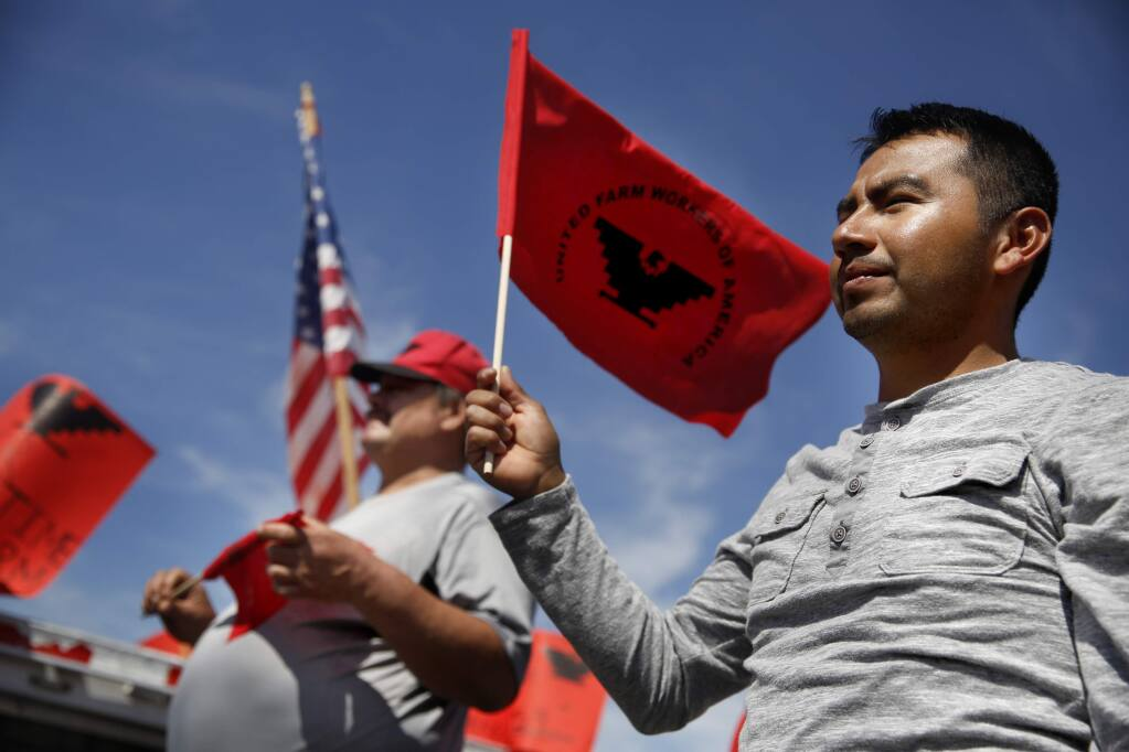 Gustavo Valentin takes part in a UFW march to mark Cesar Chavez's birthday and push for better overtime pay for farmworkers, in Santa Rosa on Sunday, April 3, 2016. (BETH SCHLANKER / The Press Democrat)