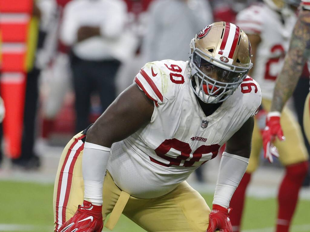 San Francisco 49ers defensive tackle Earl Mitchell during a game against the Arizona Cardinals, Sunday, Oct. 28, 2018, in Glendale, Ariz. (AP Photo/Rick Scuteri)