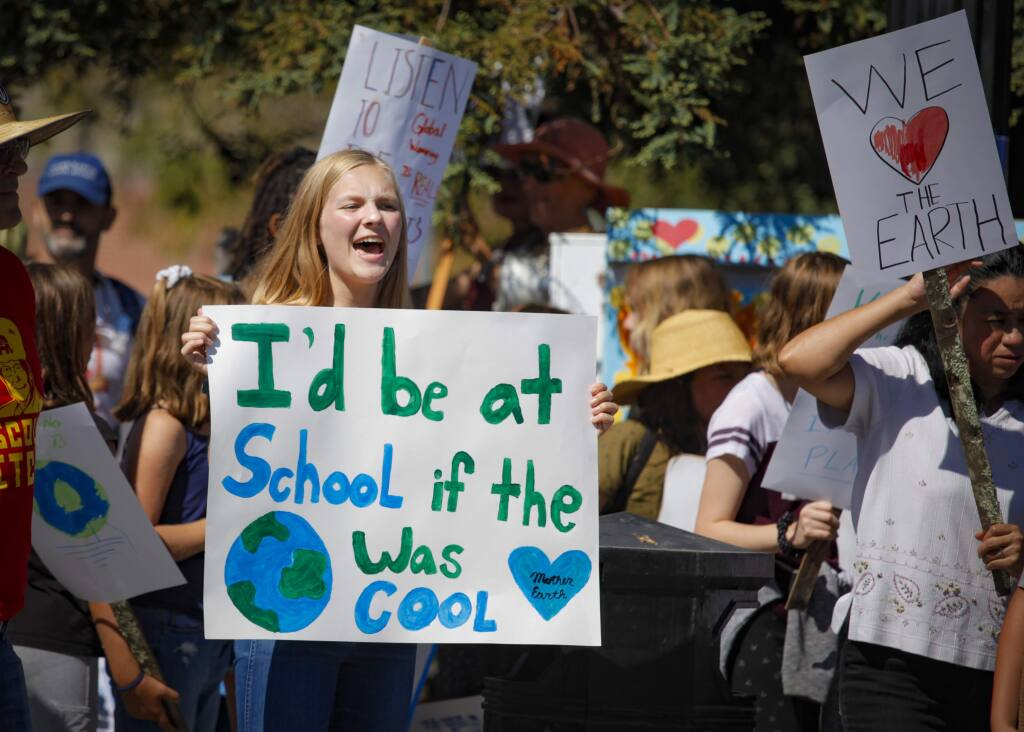Natalie Crafts, 16, a student at St. Vincent de Paul in Petaluma, participates in the Climate Strike in this Argus-Courier file photo Sept. 20, 2019. Petaluma is a front-runner in the race for a $1 million grant to help implement the city's climate strategies. (CRISSY PASCUAL/ARGUS-COURIER STAFF)