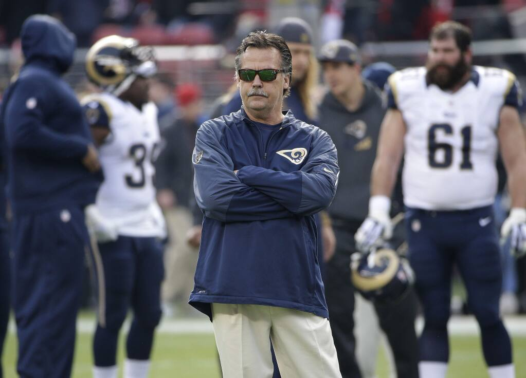 Head coach Jeff Fisher and his Los Angeles Rams will be the 49ers' first opponent in the 2016 regular season. (Marcio Jose Sanchez / Associated Press)
