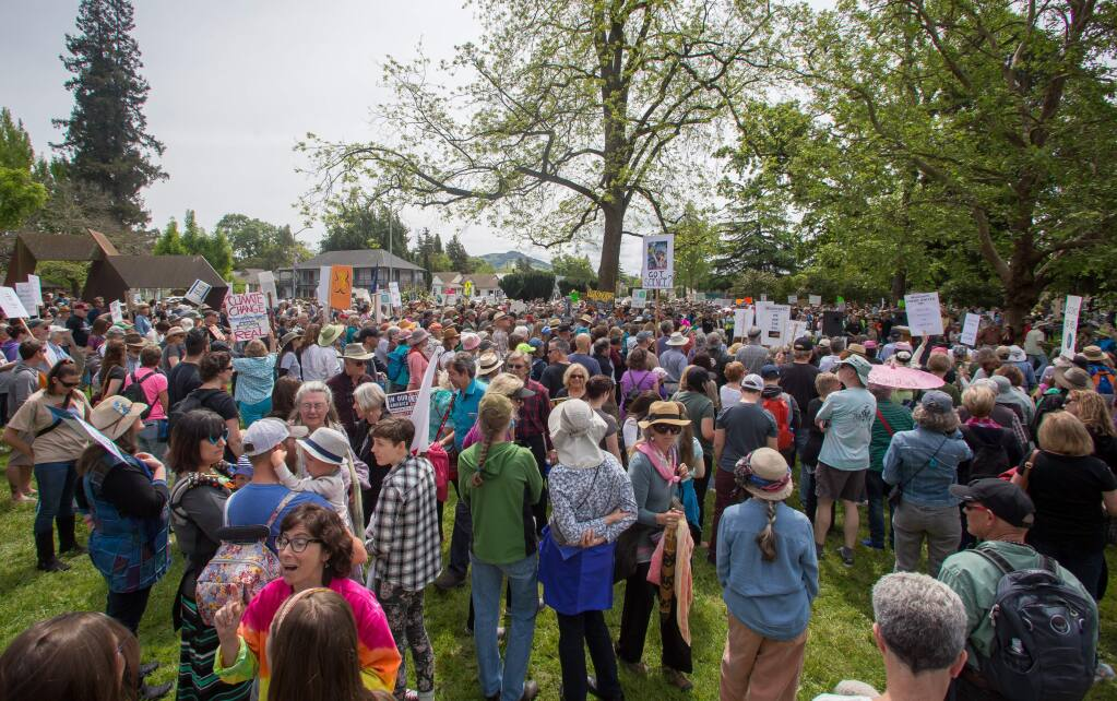People take part in a March for Science rally in Santa Rosa, Calif. Saturday, April 22, 2017. Protesters began their march with a rally in Juilliard Park, followed by a march through downtown to City Hall. (Jeremy Portje / For The Press Democrat)
