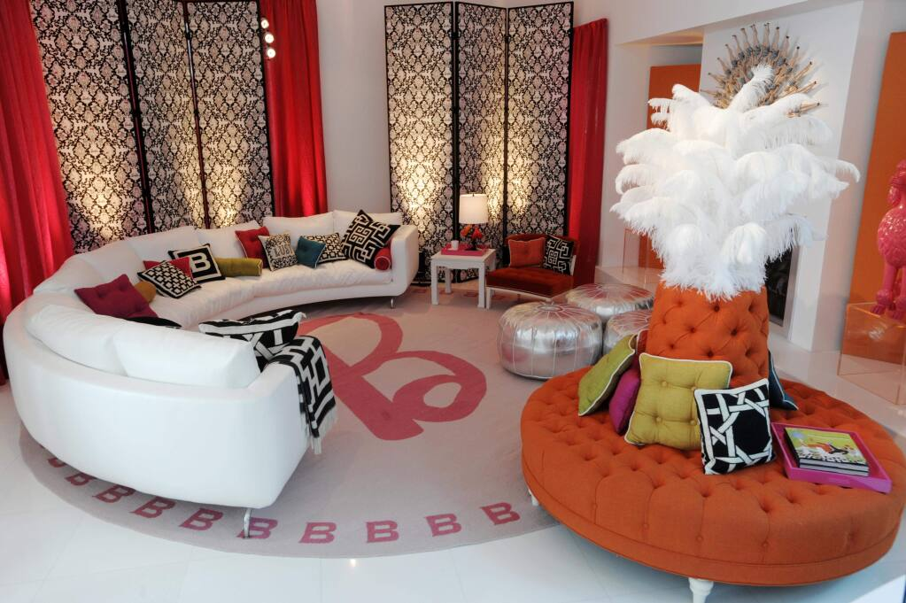 The living room area of Barbie's Real-Life Malibu Dream House is shown in Malibu, Calif., Wednesday, March 4, 2009. (AP Photo/Chris Pizzello)