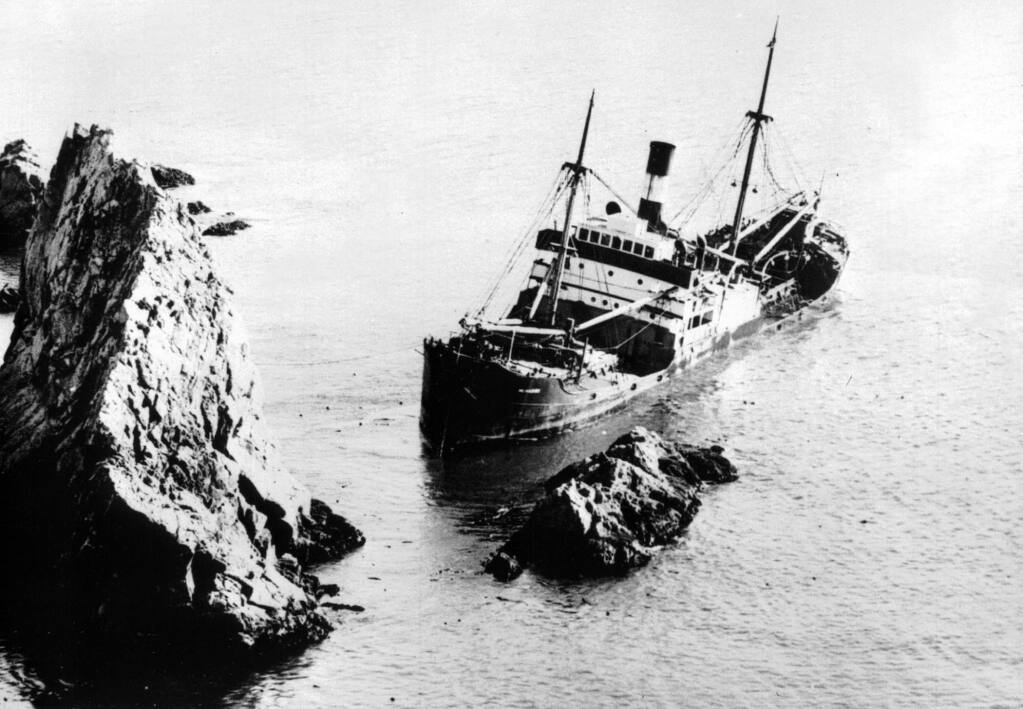 The steamer Munleon is parked on the rocks near the Point Reyes Lighthouse in 1931. (NATIONAL PARK SERVICE)