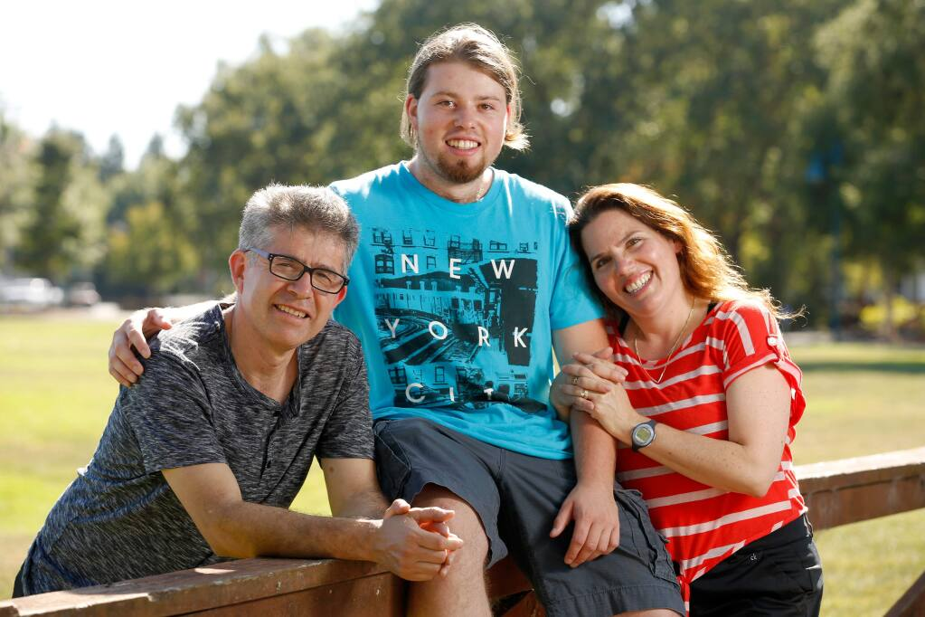 Vicente Peña VI, center with his parents Vicente Peña V and Liset Perez de Peña, in Santa Rosa, California, on Thursday, July 27, 2017. (Alvin Jornada / The Press Democrat)