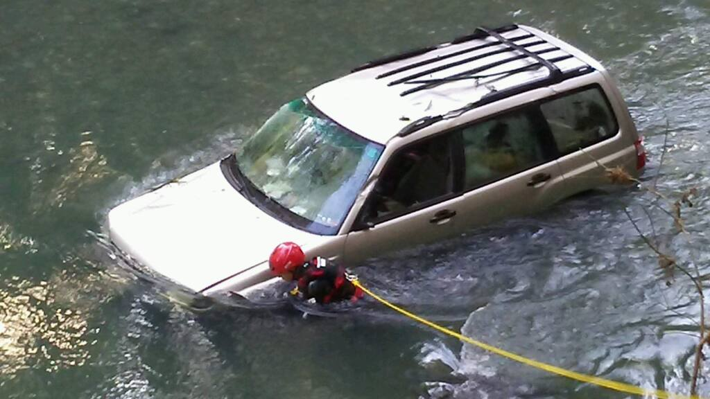 A woman that crashed into Austin Creek in Sonoma County was rescued Saturday morning after being trapped in her vehicle for hours. (Courtesy of John Yost)