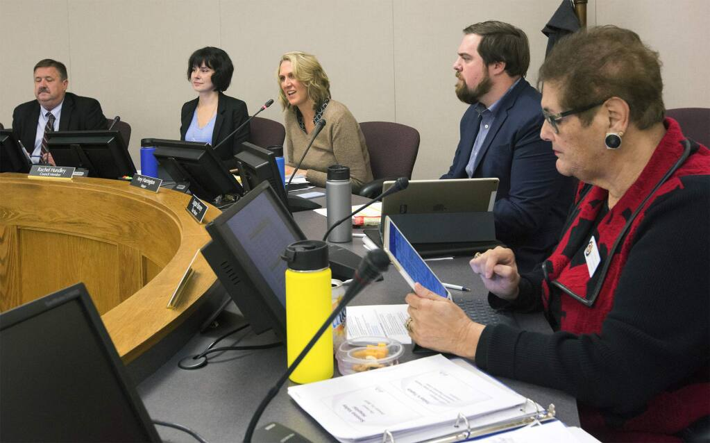The Sonoma City Council, shown here at a meeting in January, re-convenes after a month's hiatus to take up the city's General Plan for 2040 among other issues. (Photo by Robbi Pengelly/Index-Tribune)