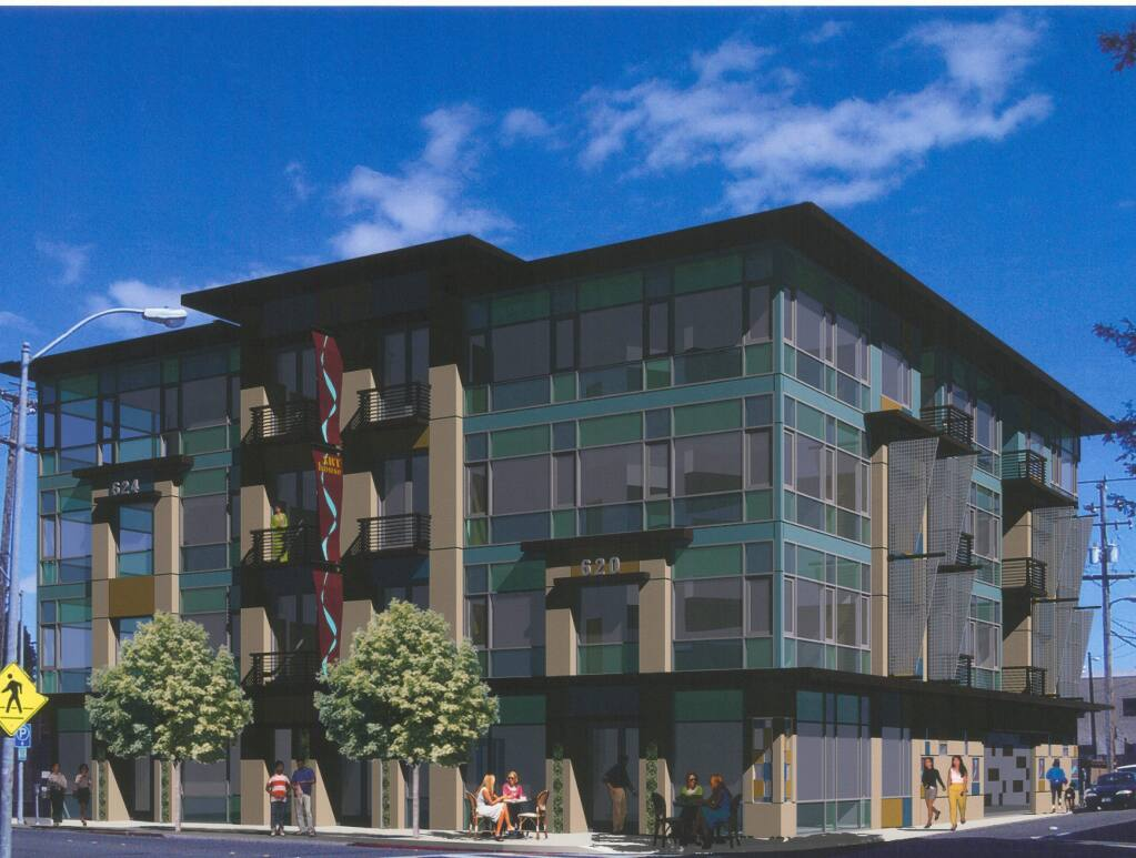 Hugh Futrell Corporation is building a four-story building at Seventh and Riley streets in Santa Rosa. Seen in this architectural rendering, the Art House building is set to have an art gallery, 21 residential units and 15 extended-stay suites when it opens, slated for 2020. (courtesy image)