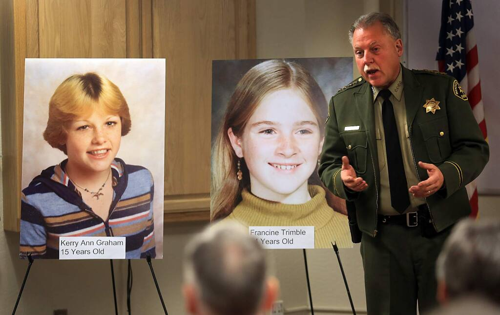 Mendocino County Sheriff Thomas Allman holds a press conference to announce that bodies of these girls, Kerry Ann Graham, left and Francine Trimble were recently identified by DNA, Tuesday Feb. 2, 2016, who were found dead on a remote stretch of Highway 20 west of Willits in July of 1979. The girls, described as best friends by family members, went missing in December 1978 after they said they were headed to Coddingtown. (Kent Porter / Press Democrat ) 2016