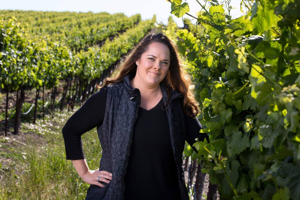 Alison Crowe, winemaker for Picket Fence and Garnet wines, at Diamond Vineyards near Sonoma on Thursday, June 1, 2017. (DARRYL BUSH/ FOR THE PD)