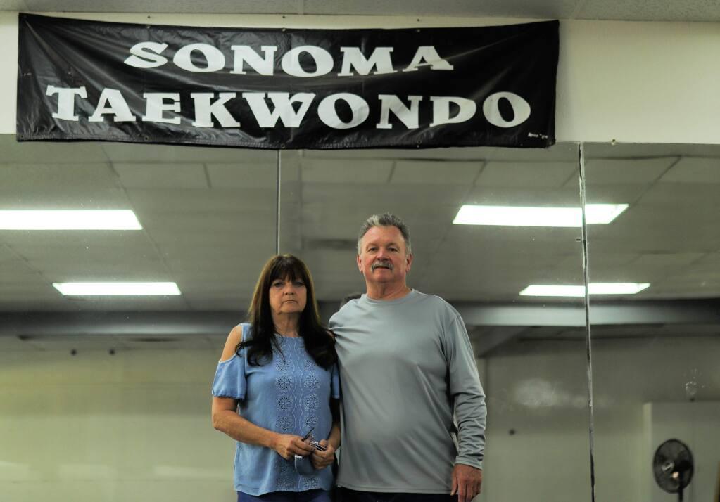 Barbie and Patrick Hoffmann inside Sonoma Taekwondo. Photo: Stella Favaro.