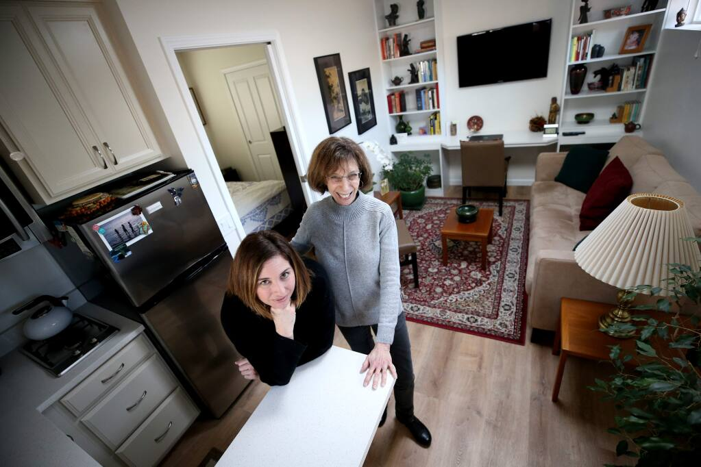 Lee Reich and her daughter Stacey Lince stand inside Reich's 'granny unit' which was converted from a garage into a living space next to Lince's home. Photo taken in Santa Rosa on Sunday, January 27, 2019. (BETH SCHLANKER/ The Press Democrat)