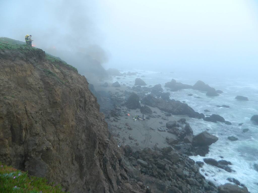 Firefighters and emergency personnel responded Saturday to a solo-vehicle crash over a cliff on the Sonoma Coast. (Pat Paterson)