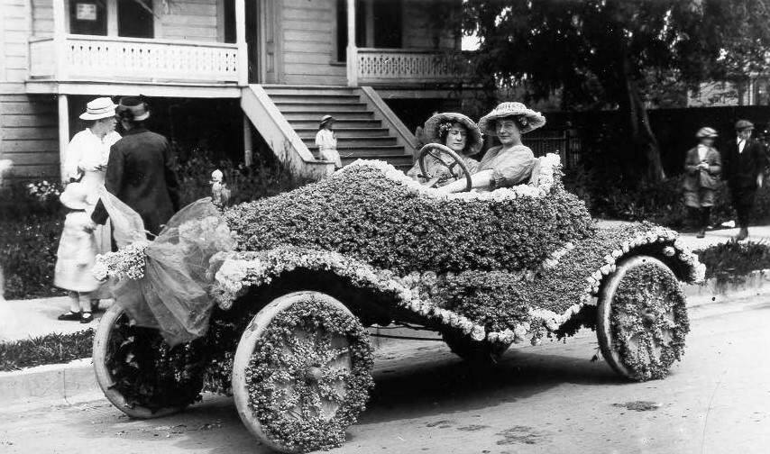 Sonoma County residents love their festivals. We have been celebrating the Luther Burbank Rose Parade and Festival since the 1890s. In this photo a roadster decorated for the Rose Parade in 1915. (Courtesy of the Sonoma County Library)