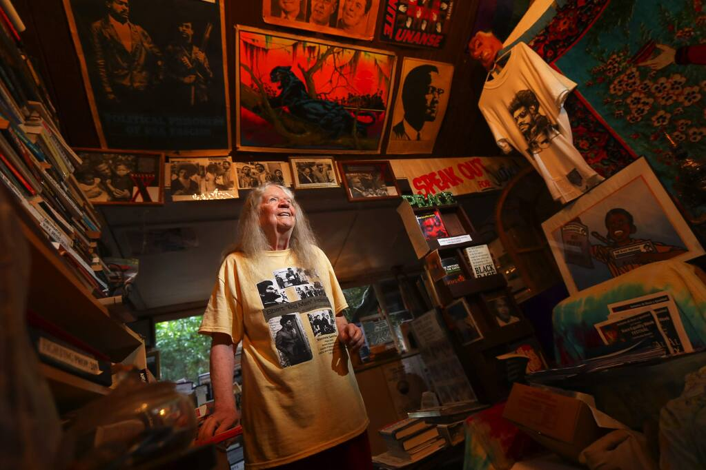 Lifelong liberal advocate Mary Moore's Occidental home is filled with all manner of political posters, flyers, newsletters and clippings. She recently donated a carload of items to the Bancroft Library at the University of California at Berkeley.(Christopher Chung/ The Press Democrat)