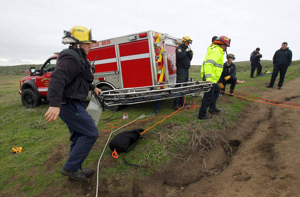 Bodega Bay firefighters train with Sonoma County Sheriff's rescue helicopter Henry One on Bodega Head in this 2014 file photo. (PD FILE)