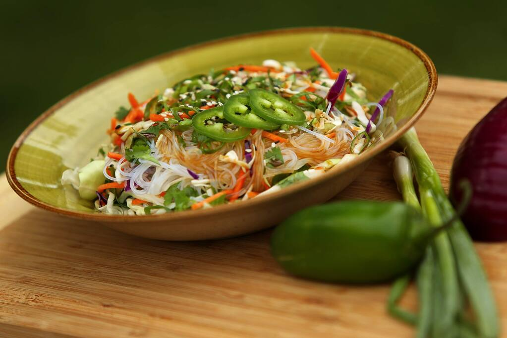 Vietnamese Noodle Salad  complements our wine of the week, a riesling from Smith-Madrone.  (Christopher Chung/ The Press Democrat)