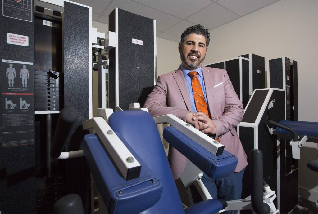 Kinesiology specialist and founder of The Strength Studio Hector Sanchez in his exercise studio on Maple St. in Sonoma. (Photo by Robbi Pengelly/Index-Tribune)
