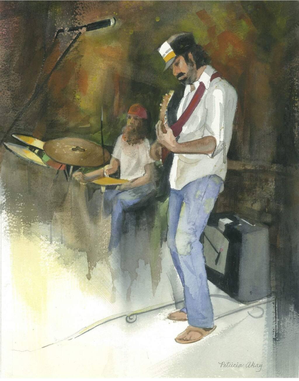 Patricia Akay's watercolor rendering of musician Brian Rashap at Terrapin Crossroads in San Rafael earned the President's Award in the Aqua Areas Juried Show.