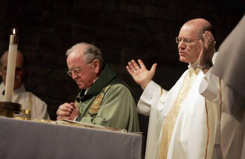 Rev. Robert Vasa, right, the new Coadjutor Bishop of Santa Rosa, takes part in the eucharist with Bishop Daniel Walsh, left, during a mass for his reception at St. Eugene's Cathedral in Santa Rosa, California on Sunday, March 6, 2011. (BETH SCHLANKER/ The Press Democrat)