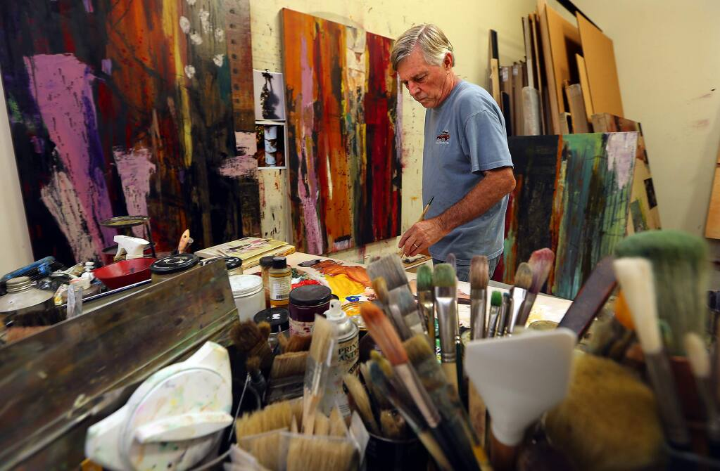 Healdsburg artist Bob Nugent uses his numerous trips to the Amazon as inspiration for his paintings. (JOHN BURGESS / The Press Democrat)