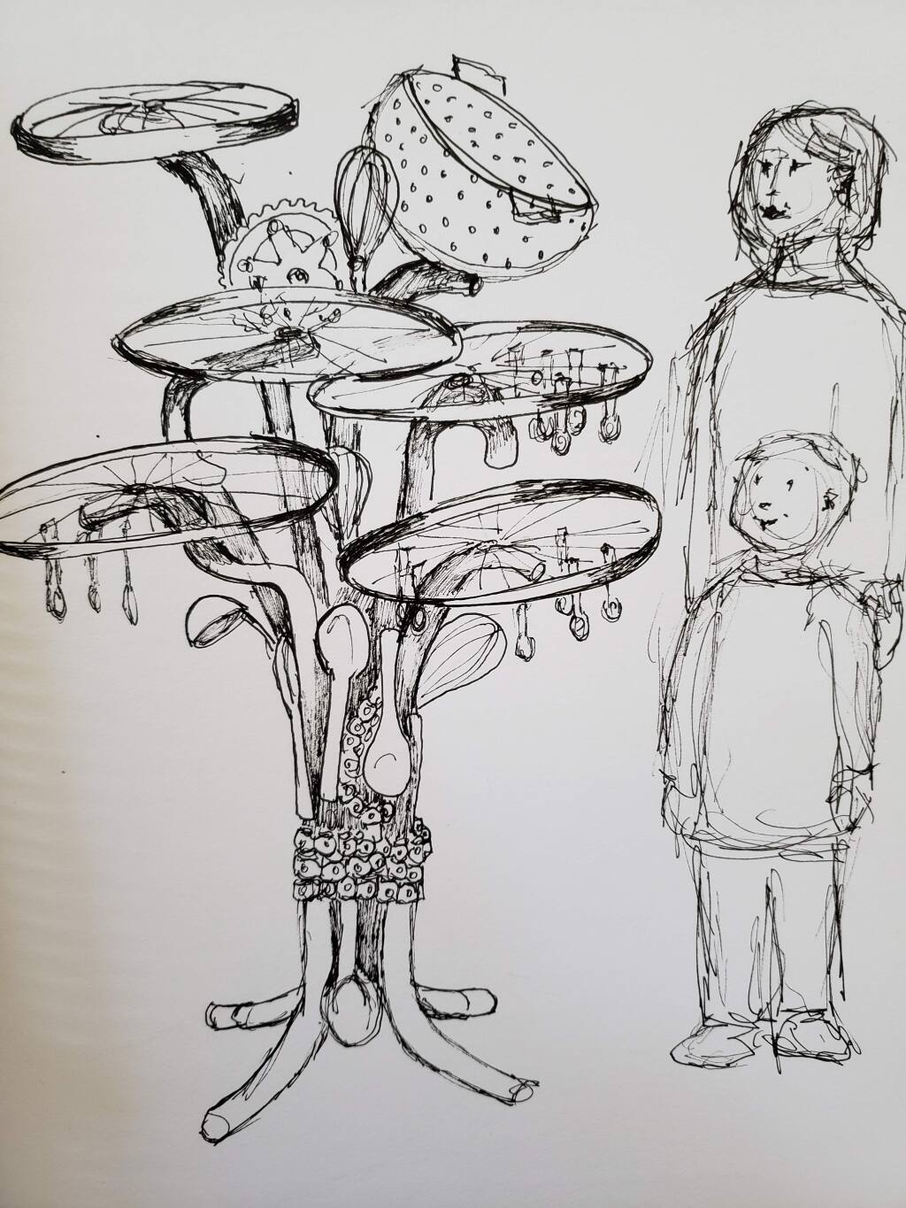 Young artists will help to design the Teen Services project, but it might look something like the attached. Sketch by Pat Meier-Johnson.