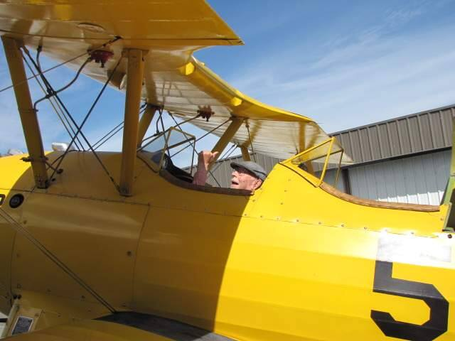 Santa Rosa's Ted Greer, 96, in a Stearman biplane before taking flight from the Petaluma Municipal Airport on Friday, July 15, 2016. (COURTESY PHOTO)