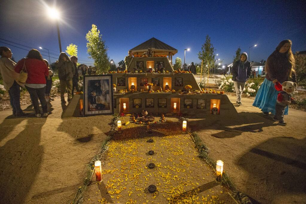 Community members gather for a vigil at Andy's Unity Park in Santa Rosa to commemorate the 5-year anniversary of Andy Lopez's death on Monday, Oct. 22, 2018. (JOHN BURGESS/ PD)
