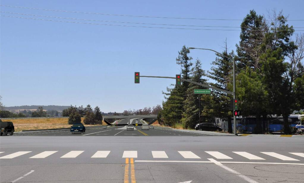 A rendering shows how the Rainier crosstown connector will look to drivers on North McDowell Boulevard. (City of Petaluma)