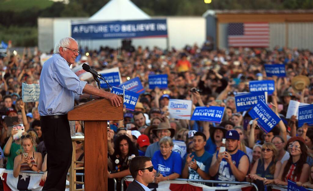 Senator Bernie Sanders of Vermont speaks to a large crowd at the Cloverdale airport on his Presidential campaign stop, Friday June 3, 2016. (Kent Porter / Press Democrat) 2016
