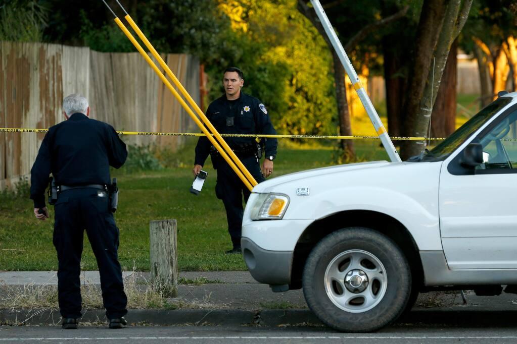 Santa Rosa police officers investigate the scene of a shooting near Jacobs Park in Santa Rosa, California, on Wednesday, June 5, 2019. (ALVIN JORNADA/ PD)