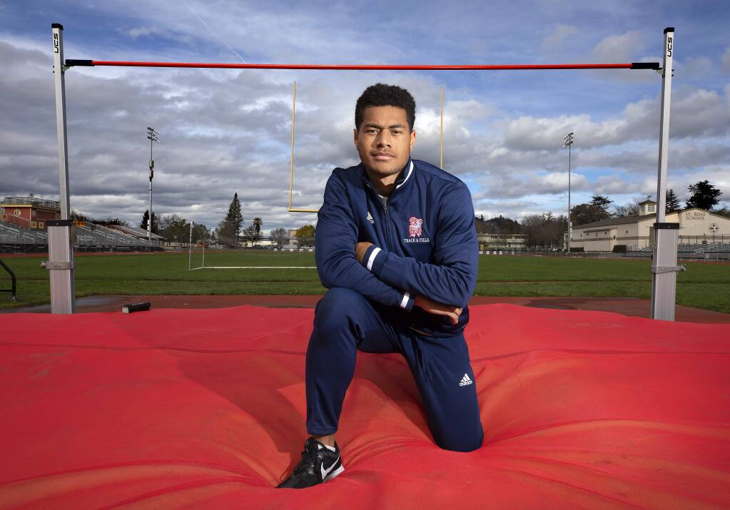 SRJC high jumper Waisea Jikoiono. (John Burgess / The Press Democrat)