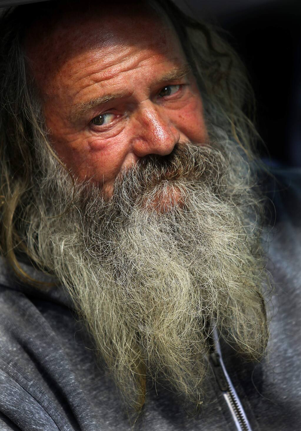 JOHN BURGESS / The Press Democrat A homeless man who declined to give his name has lived near the St. Vincent de Paul Society in Santa Rosa for the past 18 months. Sonoma County's most recent homeless count, on Jan. 23, found 3,107 people were homeless.