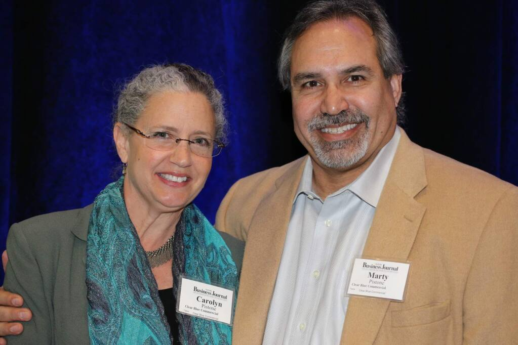 Clear Blue Commercial is one of 19 to win the Business Journal's Community Philanthropy Awards, presented March 30, 2016. Accepting are Carolyn Pistone, president and managing director, and Marty Pistone, owner and real estate agent. (Jeff Quackenbush/The Business Journal)
