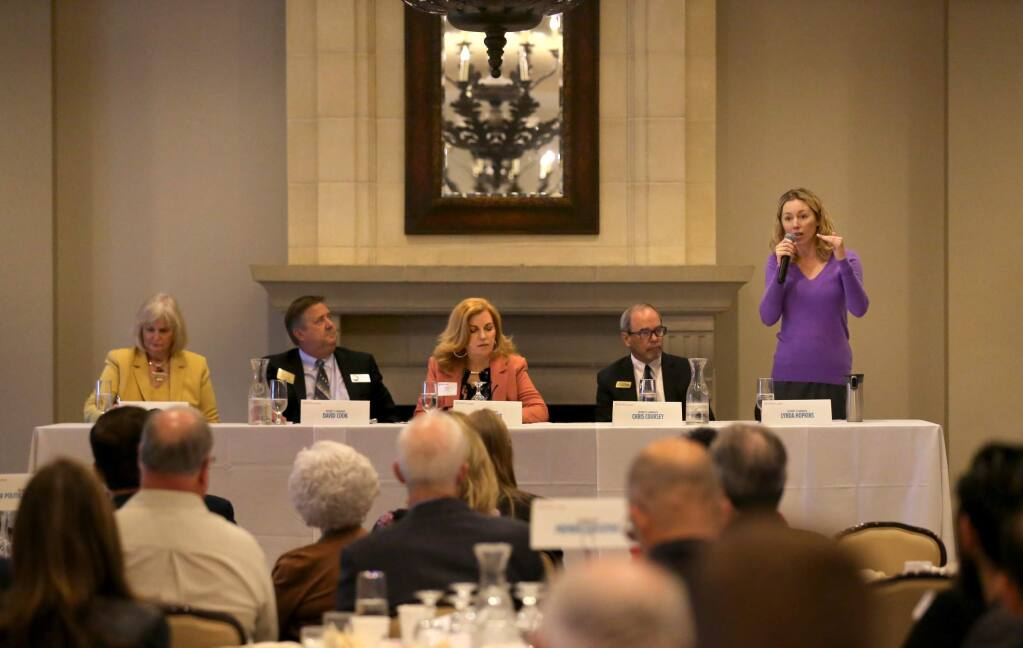 District 5 Supervisor Lynda Hopkins speaks during a debate hosted by the Santa Rosa Metro Chamber of Commerce at the Santa Rosa Golf and Country Club in Santa Rosa on Wednesday, October 16, 2019. (BETH SCHLANKER/ The Press Democrat)