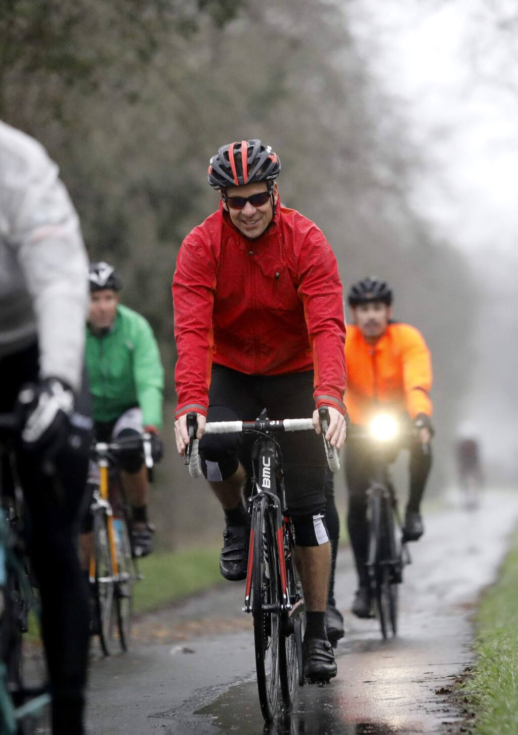 Andrew Hampsten, a retired professional road bicycle racer, rides with cyclists on the Santa Rosa Creek Trail in Santa Rosa, on Thursday, January 18, 2018. (BETH SCHLANKER/ The Press Democrat)