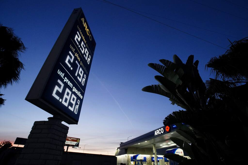 An Arco service station displays the price of three grades of gasoline Thursday, May 7, 2020, in Santa Ana, Calif. (AP Photo/Chris Carlson)
