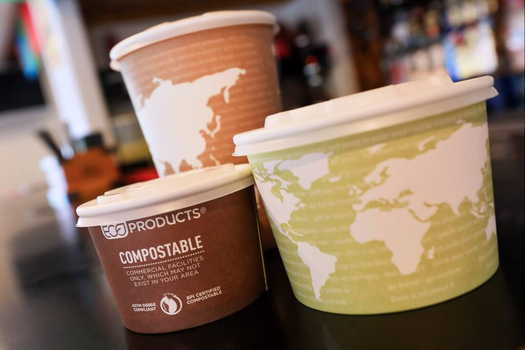 El Coronel Mexican Restaurant, in Sebastopol, has switched from using polystyrene take-home containers to using environmentally friendly compostable products.(Christopher Chung/ The Press Democrat)
