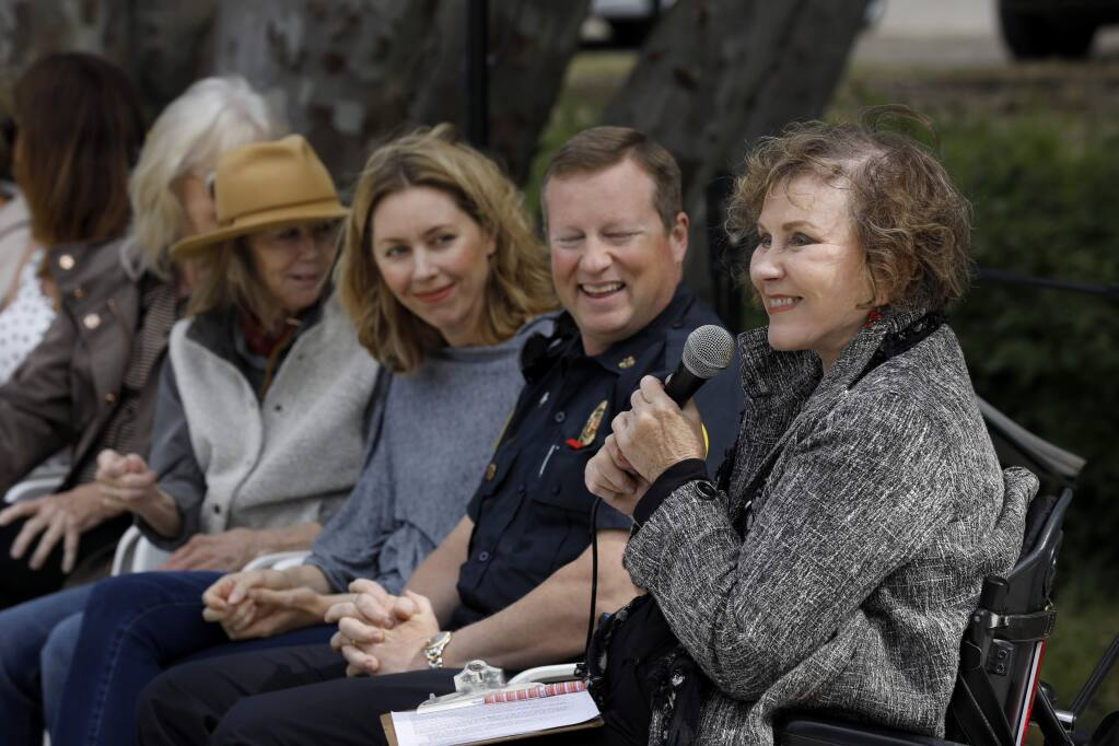 Graton Green Group president HolLynn D'Lil speaks before a crowd during the grand opening of the Graton Green in Graton, California on Sunday, June 2, 2019. (BETH SCHLANKER/The Press Democrat)