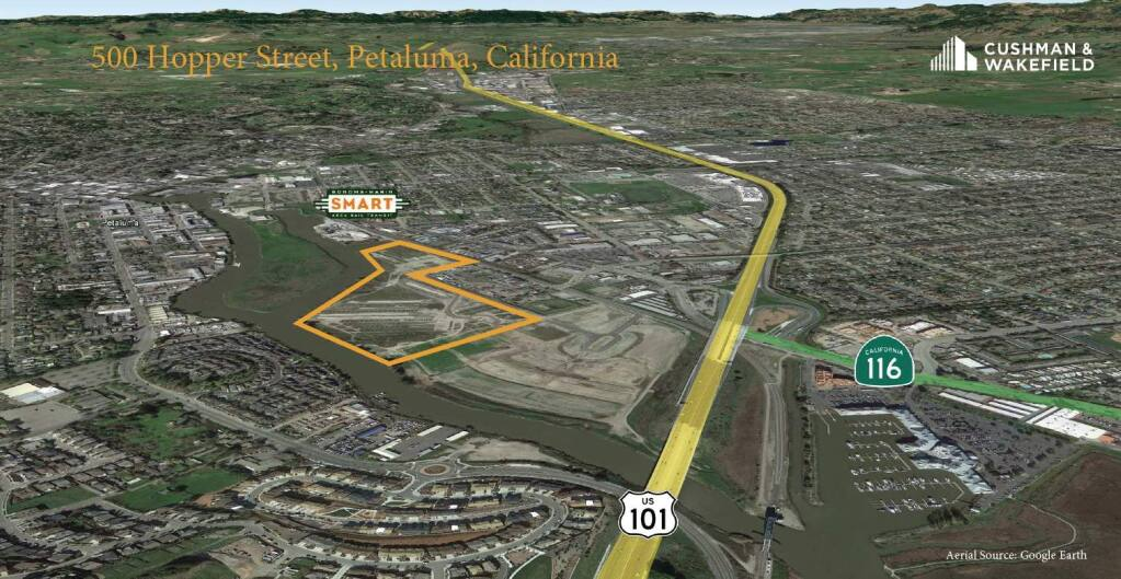 Scannell Properties in 2019 purchases 40 acres of industrial-zoned Petaluma land at 500 Hopper St., the boundaries of which are outlined on this Google Earth aerial image. (courtesy of Cushman & Wakefield)