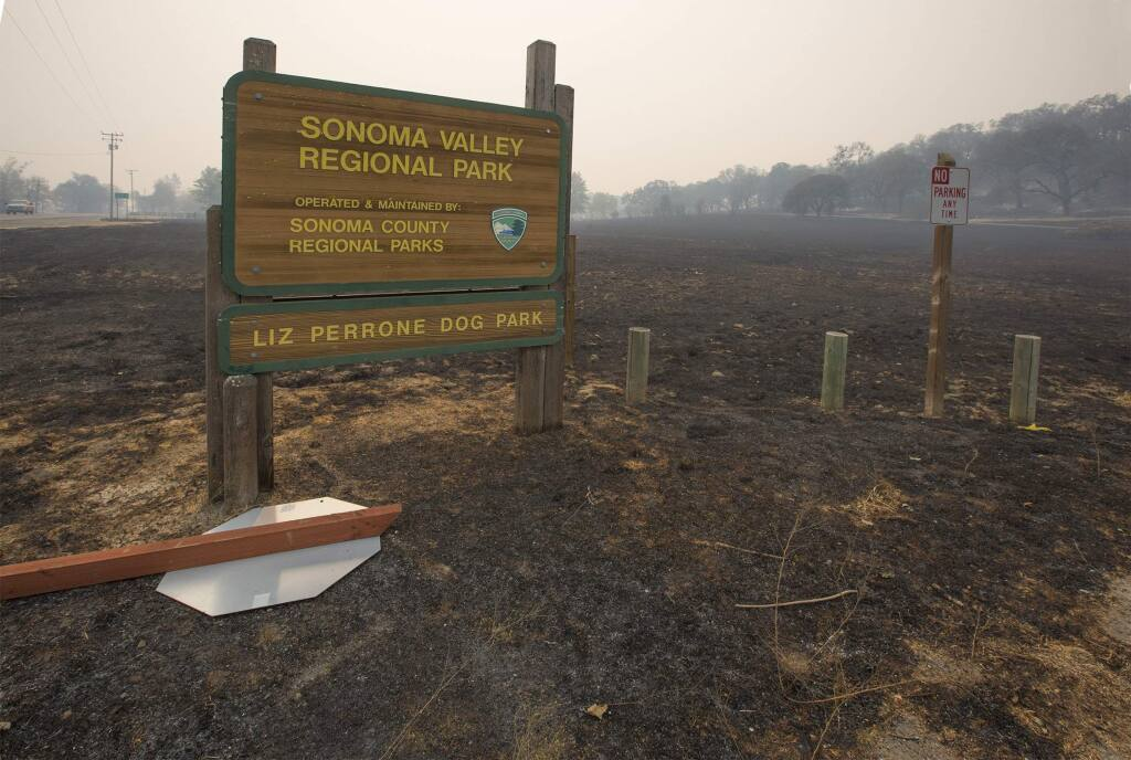 Entrance to Sonoma Valley Regional Park on Highway 12, following the first that swept through Sonoma Valley on Oct. 9. (Photo by Robbi Pengelly/Index-Tribune)
