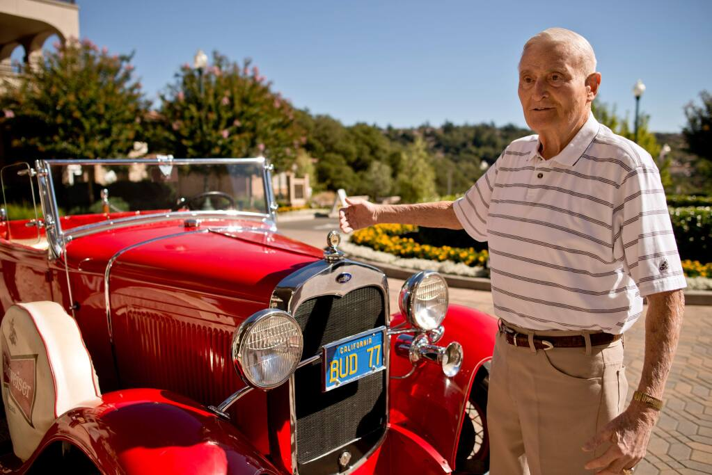 10/7/2013: B1:PC: Chet Galeazzi with the 1930 Ford Model A Cabriolet pickup that he owned, restored, and, later, sold to his friend Mike Curtis, in Santa Rosa, Calif., on October 3, 2013. (Alvin Jornada / The Press Democrat)
