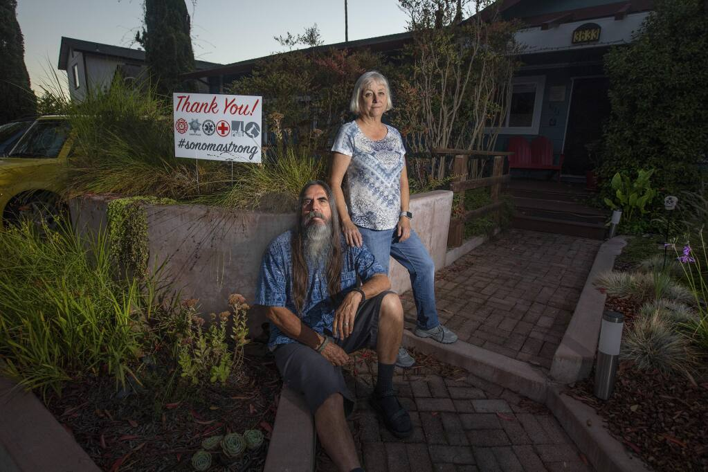 Ginger and Lou Orosco's Banyan Place home survivedthe October 2017 wildfires while neighbors just a few houses away lost everything. (photo by John Burgess/The Press Democrat)